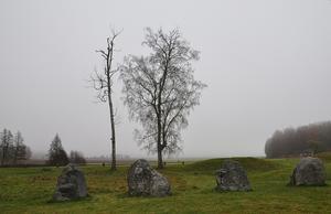 En dimmig höstmorgon vid skeppsättningarna på Anundshögsområdet.