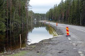 Här efter väg 344 vid Lövsjön nordost om Föllinge, där man just nu bygger om vägen, är vattennivån i diket farligt hög.