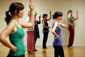 Tummen mot pekfingret, sedan ska handen dras längs med halsen. Indisk musik går fort och det är många moment att lära sig. Eva Martinsson i lila linne instruerar sina kursdeltagare i bollywood under dansfestivalen Shake It Östersund.