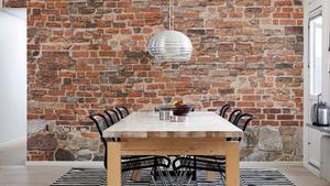 Nu kan drömmen om en tegelvägg i köket bli verklighet utan särskilt stor arbetsinsats. Tapet från Mr Perswall, 315 kronor/kvadratmeter.
