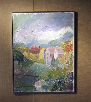 Affischbildens målning är det första verk som möter besökaren på Kvarnen.