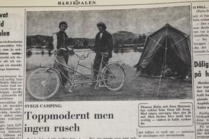 Peter Kadhammar fick tag på Lars Bohlin och Sten Hansson som cyklat tandem från Orsa till Sveg.
