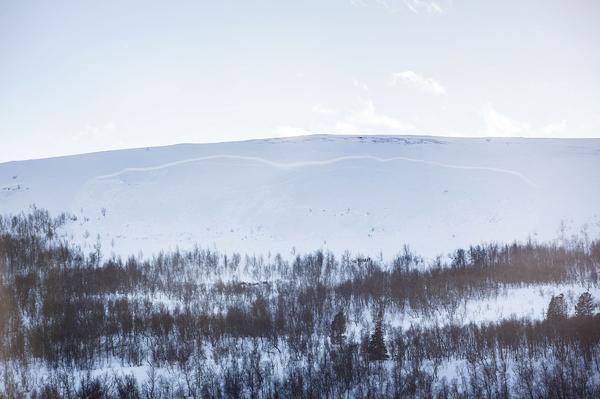 Lavinen som gått vid Osthang i Ramundberget är enligt polisen 400 bred och 300 meter lång.
