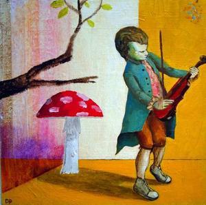 Dan Perrin från Göteborg ställer just nu ut målningar på Ahlbergshallen – underfundiga och humoristiska och med tvära kombinationer.