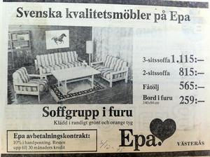 Så här såg en begärlig soffa ut 1975, i en annons i VLT.