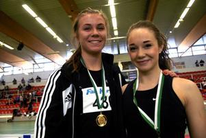 Erika Löke vann 60 meter för F17 och klubbkompisen i Falu IK Elin Eriksson var tvåa.