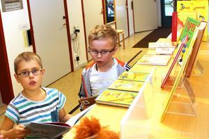 Simon Johnsson och Emil Sundman Selander ville också låna Pippiböcker.