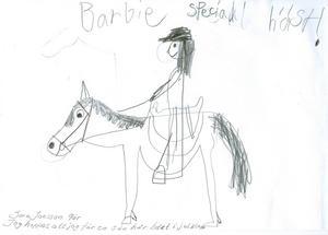 Sara 9år från Sandviken, önskar sig en Barbie på häst i julklapp. God Jul!