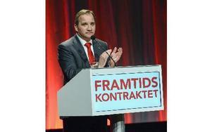 Socialdemokraternas partiordföranden Stefan Löfven under kongressens avslutningsdag på Svenska Mässan i Göteborg på söndagen.