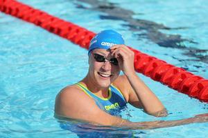 Sarah Sjöström satte världsrekord på VM i Budapest i dag.