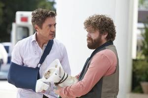 Två män och en mops. Robert Downey Jr och Zach Galifianakis på skolresa mot föräldraskapet.