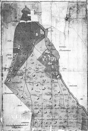 Utifrån denna karta, från 1961, listade Peter Nyblom ut var stångjärnshammaren anlades. Platsen är i mitten, något högre upp, till höger där det syns flera siffror. Strax under låg en kvarn och nedanför den återfanns järnboden.