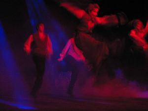 Ida Ingemarsdotter gör en så kallad halling-spark, när Svegs ungdomsdansare uppträder på Linköpings folkmusikfestival 2003. Föreställningen arbetades fram tillsammans med Hoven Droven som stod för musiken.