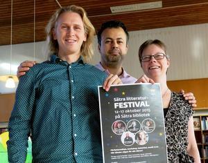 Claes Wallgren, Bakhtiar Rahim och Sara Hagström-Andersson på Sätras stadsbibliotek i Gävle lyckades med sin litteraturfestival.