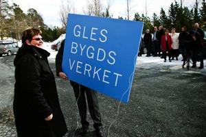 Generaldirektören Kerstin Wallin har just varit med om att ta ner skylten från Glesbygdsverket.