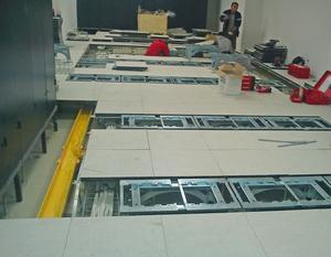 Installationsgolven från Bergvik Flooring är som ett stålskelett som sedan täcks med golvplattor. Foto: Privat