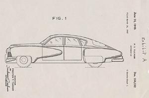 Preston Tucker drogs in i segslitna juridiska tvister där han och hans företag ifrågasattes. Dokumenthögarna växte. Här är patentbrevet som beskriver den nya revolutionerande framtidsbilen.
