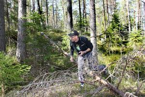 """Peter Sjögren heter """"killerswede"""" när han geocachar. Nu kan hans geocachar göra gamla Gusturleden till ett eldorado för utövarna."""