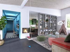 Inredaren Isabelle McAllister har inrett framtidens boende. Hela den blå korridoren är fylld med förvaring i väggarna. Här finns också en liten arbetsplats med fönster mot köket.