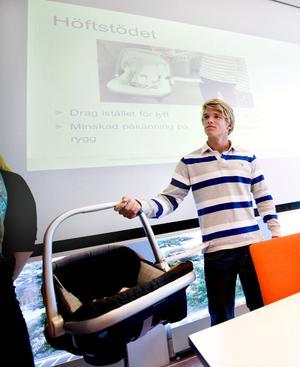 Mathias Lagestam säger att det ska vara enkelt att använda höftstödet - då blir det också använt.