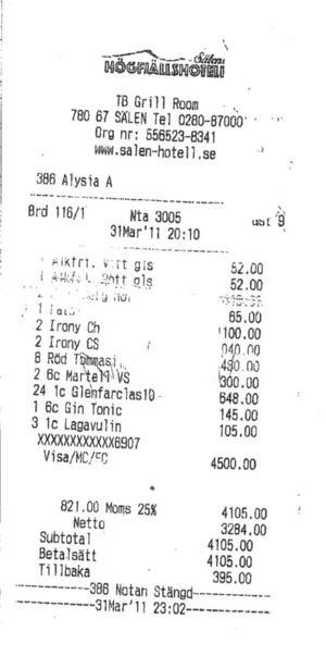 Fest för nio. Energibolagets ledningsgrupp drack vin och sprit för 4 500 kronor vid ett barbesök i samband med en                                      internkonferens förlagd till Sälens högfjällshotell i mars 2011. Nio personer var med och festade. Kommunbolaget betalade.