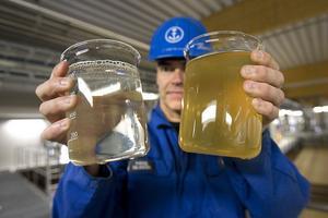 Hans Nilsson visar vattnet efter och före reningen. Efteråt är färgen mycket ljusare och utsläppen av bland annat närsalter som fosfor och kväve, som kan leda till övergödning, har minskat betydligt. Den nya reningen gör att bruket även kommer att klara framtida miljökrav.