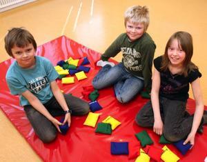 Efter att idrottsläraren Emma Sandgren kom till Valsjöbyns skola blev datasalen en provisorisk idrottshall. Här trivs Jens Engelin Andersson, 9, hans brorsa Patrik, 11, och Gunnel Sundvik, 10.