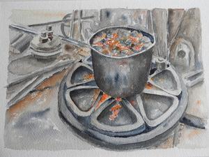 Tavla målad med inspiration från Sura bruks historia av Catharina Lindberg.
