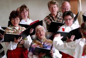 Lovsång. Envikens kyrkokör förstärktes med sångare från Svärdsjö, dagen till ära.