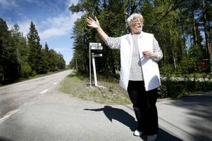 Birgitta Bergström var på hemväg till Bönan i tisdagskväll när hon plötsligt upptäckte en björn. I ljuset från strålkastarna såg hon hur den sprang in i skogen.