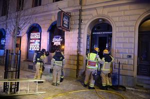 Under branden på Bite Line City i går kväll fick brandkåren utrymma lokalerna på Köpmangatan.