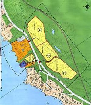 Attraktivt boende. Så här såg förslaget ut  när det presenterades i februari. Omkring 100 bostäder i område A, B, C och D. Det blå området är tänkt för båtplatser. Ett område för en framtida väg finns reserverat 400 meter norr om Bönavägen.