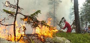 Branden vid Hemåsen i Segersta kunde begränsas till cirka tre hektar trots att det var svårt att få fram vatten till platsen.