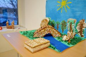 Älvstrandens förskola, avdelning Noten har byggt upp en miljö byggd på sagan om de tre bockarna Bruse.