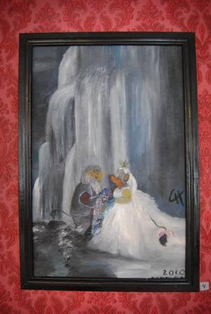 trolltavla. Charlotte Hedin målar på fritiden och just nu pryder hennes trolltavlor väggarna på Lägergården. Inspirationen till just den här tavlan fick hon från Daniel och Victorias bröllop och i många av tavlorna finns vackra Lingbomotiv.