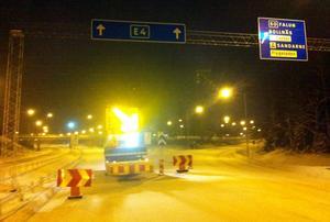 E4 avstängd för södergående trafik i Söderhamn.