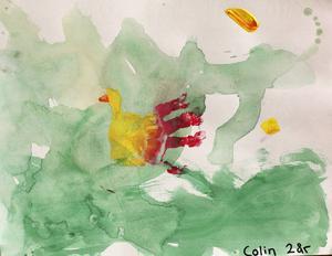 """Tvåa i åldersklassen 0-6 år. Av Colin Falkelind, 2 år.         JURYNS MOTIVERING: """"Påskfågeln flyger genom ett grönt dis. Med lätt hand skapar Colin en stämningsfull känsla i sin bild. Vacker!""""         Efterlysning: Redaktionen saknar Colins postadress. Hör av er till redaktionen, så vi vet vart vi ska skicka priset. Mejla till pif@op.se"""