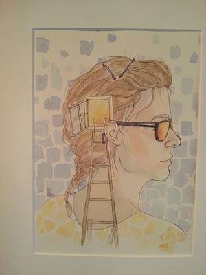 Rebecka Sernheim målar smarta teckningar och akvareller.