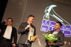 Jeff Öijer och Mora bygg kammade hem två priser under kvällen varav Årets unga företagare var ett (företagare under 30 år), med på bild ser man kollegan