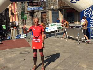 Målgången på söndagen efter 168 avklarade kilometer. Anette Jonsson kom i mål efter 40 timmar och 45 minuter som räckte till en femte plats.