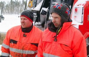 Nöjda med bärgningsarbetet var Christer Tallmarker, Dille Maskin i Sundsvall, som kommer att svara för maskinreparationen, och bärgningens samordnare Staffan Jämtgård.