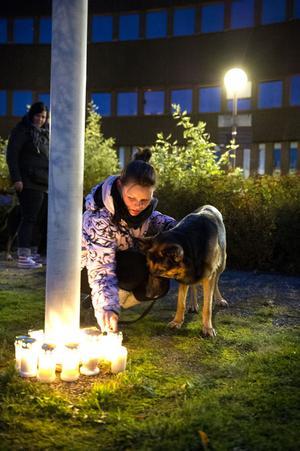 Madelene Grahn med sin schäfer/collie korsning Nick var en av de många falubor som deltog i manifestationen och tände ett ljus.