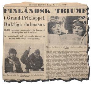 Det allra första GP-loppet på vinterväglag slutade med finländsk dubbelseger och publiksuccé. Över 50 000 åskådare fanns på plats, varav merparten vid sjön Rämen och Sellnässjön.   (Från Ludvika Tidning den 24 februari 1931)