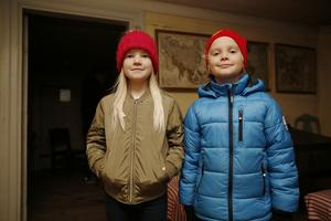 Elsa Tibblin, 10 år, och Sebastian Tibblin, 8 år, tyckte det var spännande att kika in i de olika rummen.