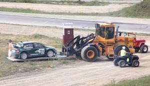 För en het Rikard Gustavsson slutade finalen med traktorbärgning.