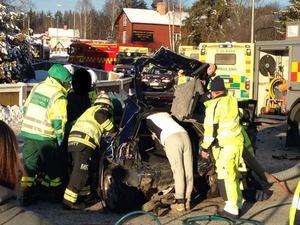 En kvinna skadades svårt i en bilolycka i Grycksbo på onsdagen.