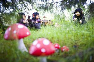 En liten trollskog möter besökaren på väg in till Marie Sundins trädgård i Grästjärn.