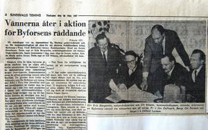Tidningssida ur ST och Dagbladet i slutet av 1960-talet. Jan Gullmark sparade allt som skrevs om Byforsen.