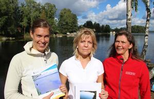 Miljökämpar på Länsstyrelsen Dalarna; Anna Wemming, miljöanalytiker, Anna Myrtin, funktionssamordnare och Maj Ardesjö, miljöhandläggare.