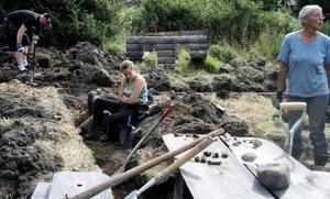 Martin Hallgren, Amanda Jönsson och Gunnel Johnsson gräver efter medeltida fynd i Bodsjö. På bordet ligger några keramikskärvor från 1700-talet som de har hittat.  Foto: Conny Liljeteg